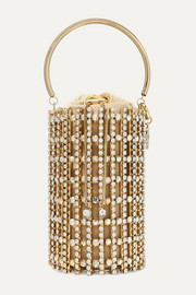Artemide crystal-embellished gold-tone and velvet bucket bag