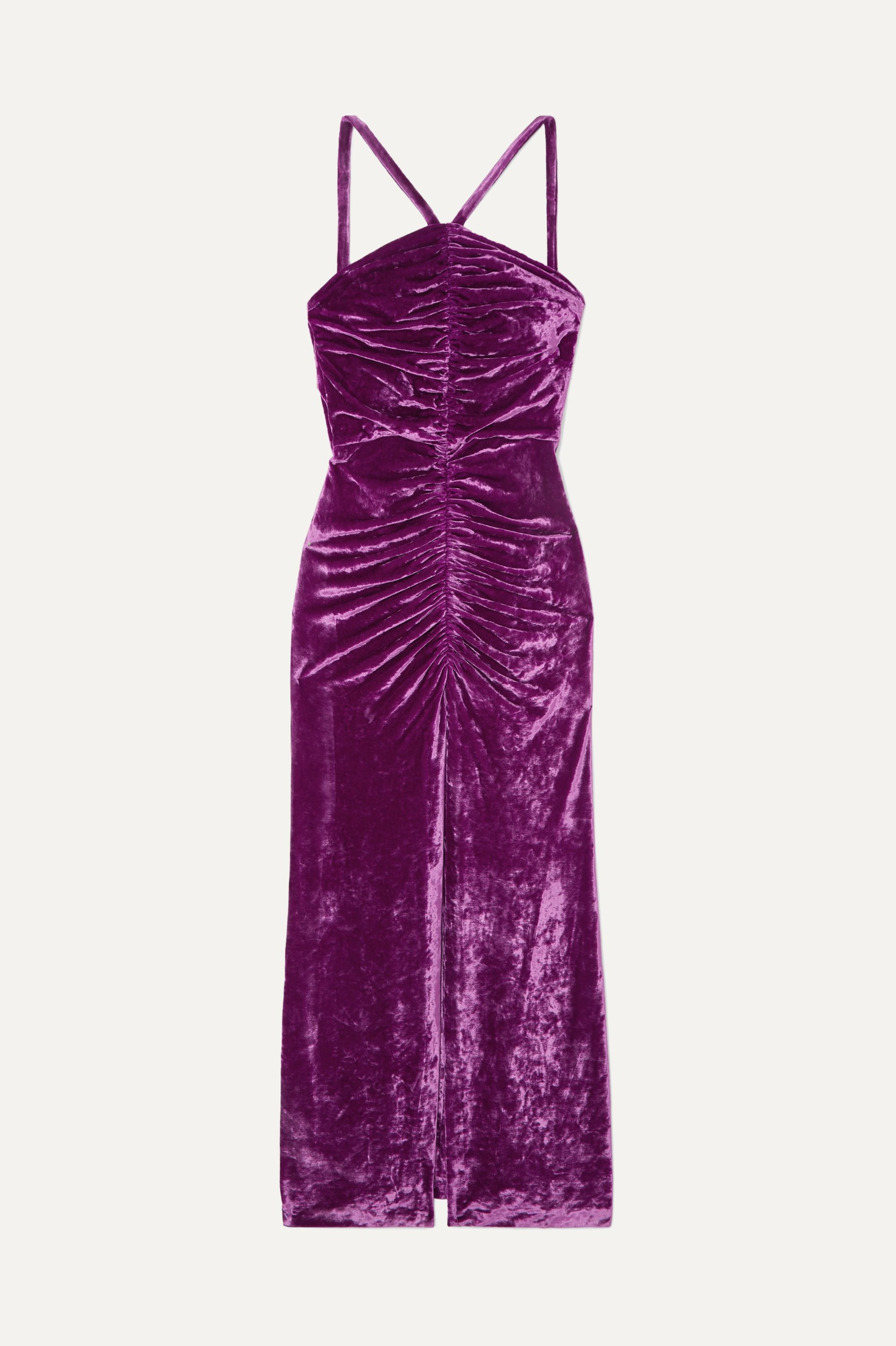 The Attico Bow-detailed ruched stretch-velvet maxi dress