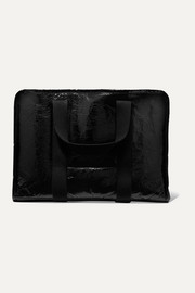 Kassl Editions Small shearling-lined lacquered textured-leather tote