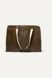 Kassl Editions Medium two-tone crinkled faux patent-leather tote
