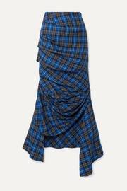 A.W.A.K.E. MODE Gathered checked twill midi skirt