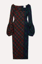 Thistle Whistle paneled checked twill midi dress