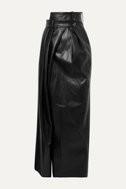Pirt asymmetric layered faux leather maxi skirt