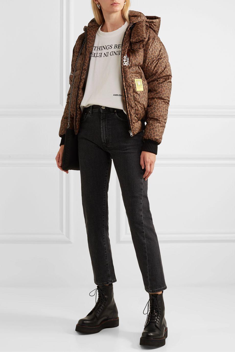 Brumal + R13 hooded leopard-print shell down bomber jacket