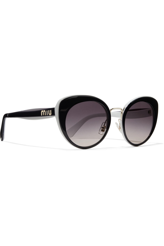 Miu Miu Cat-eye two-tone acetate and gold-tone sunglasses