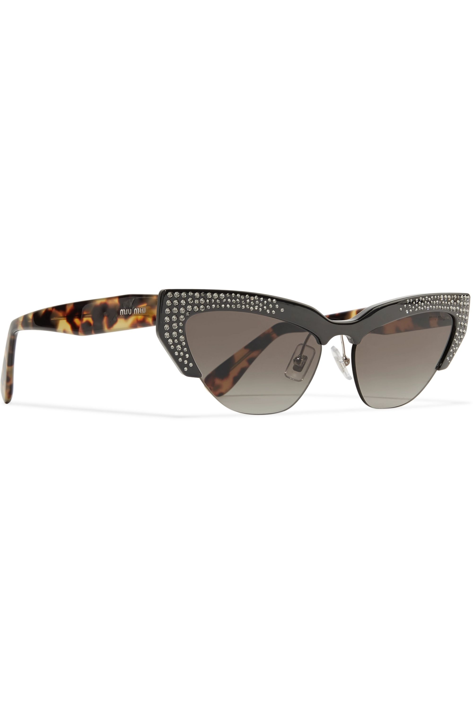 Miu Miu Cat-eye crystal-embellished acetate mirrored sunglasses