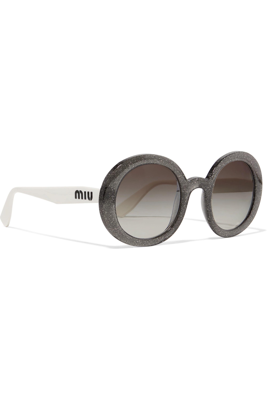 Miu Miu Round-frame glittered acetate sunglasses