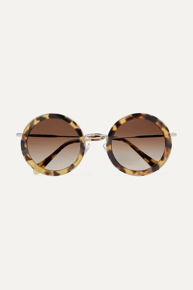 09c82e4e7255 Miu Miu. Round-frame tortoiseshell acetate and silver-tone sunglasses