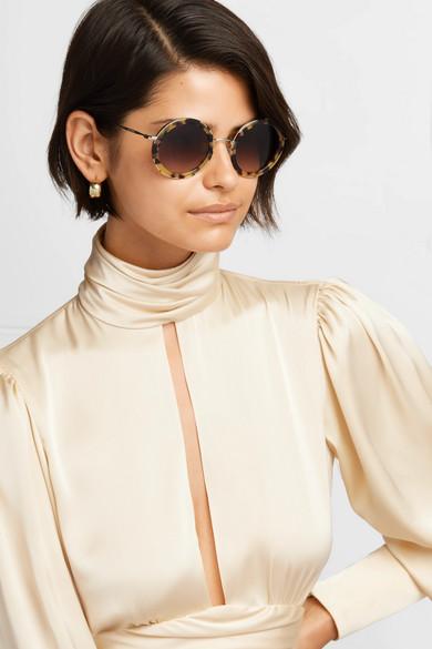 4531477672ac Miu Miu. Round-frame tortoiseshell acetate and silver-tone sunglasses.  $380.00. Zoom In