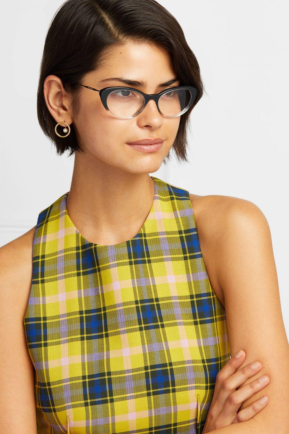 Miu Miu Cat-eye acetate and gold-tone optical glasses