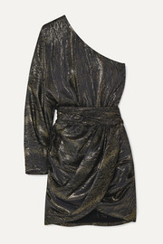 Redemption One-sleeve draped metallic silk-blend jacquard mini dress