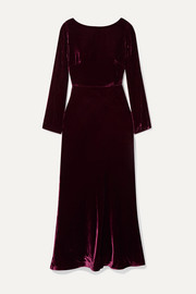 Saloni Tina open-back draped velvet midi dress