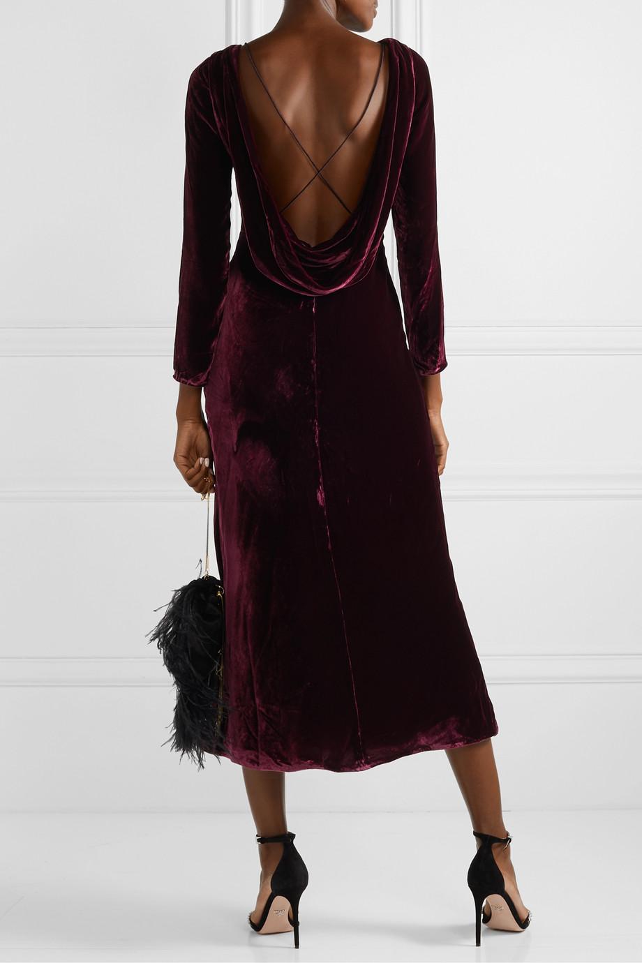 Saloni Tina open-back draped velvet midi dress