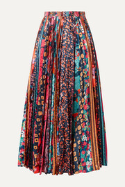 Saloni Kim pleated printed satin midi skirt