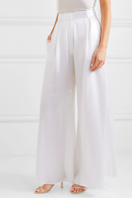 Belle silk-satin wide-leg pants