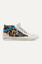Golden Goose Mid Star distressed leopard-print calf hair, leather and suede sneakers