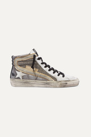 Slide distressed suede-trimmed leather and Lurex high-top sneakers