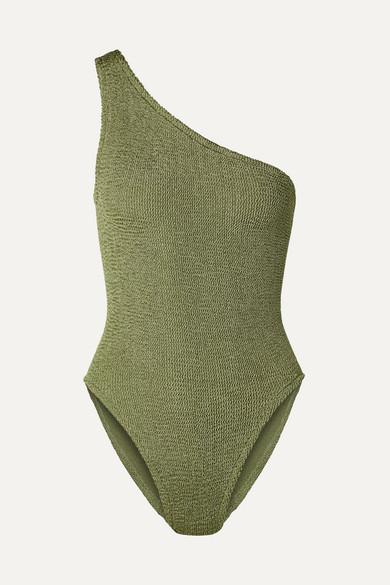 HUNZA G   Hunza G - Nancy One-Shoulder Seersucker Swimsuit - Army Green   Goxip