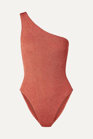 HUNZA G | Hunza G - Nancy One-Shoulder Seersucker Swimsuit - Brick | Goxip
