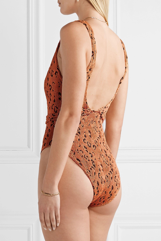 Hunza G Solitaire belted seersucker swimsuit