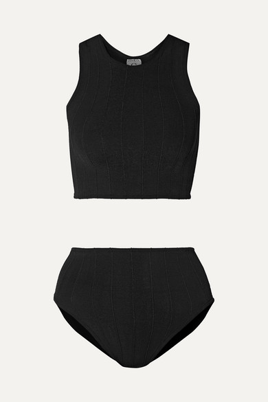 Bikini En Crépon Côtelé Iris - Noir