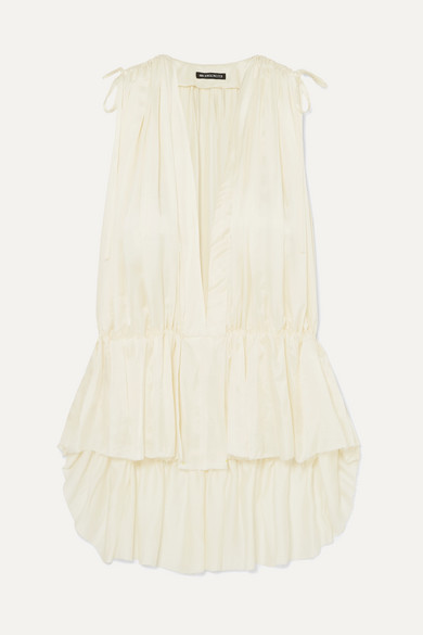 frayed-gathered-satin-blouse by ann-demeulemeester