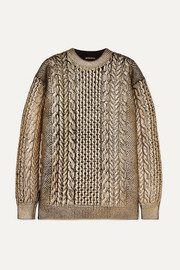 Metallic cable-knit wool sweater