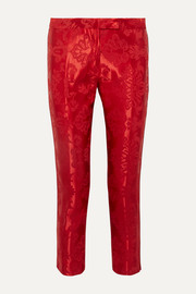 Cropped cord-trimmed satin-jacquard straight-leg pants