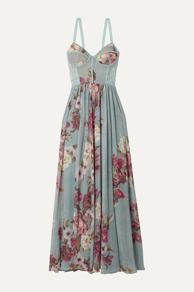 Lace Trimmed Floral Print Georgette Maxi Dress by Pat Bo