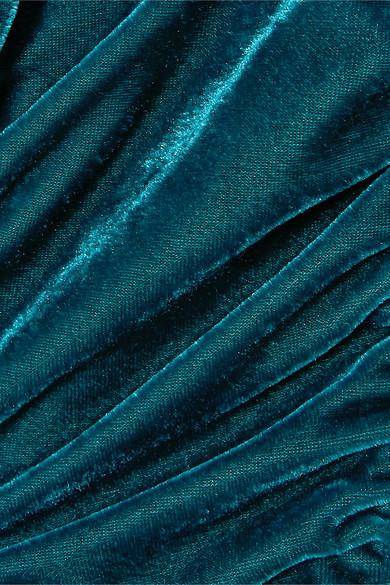 褶饰垂坠弹力天鹅绒迷你连衣裙展示图