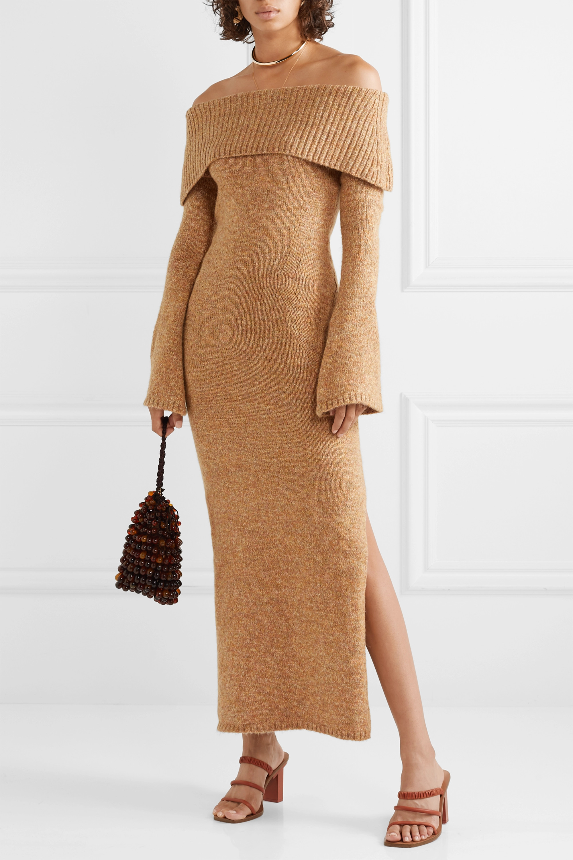 Cult Gaia Mariel off-the-shoulder knitted maxi dress