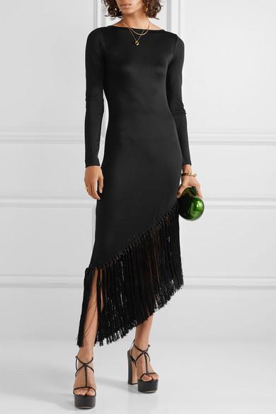 Sharona Asymmetric Fringed Stretch Jersey Midi Dress by Cult Gaia