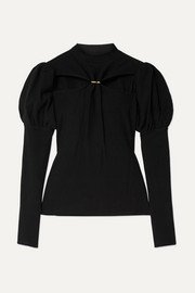 Cult Gaia Mora embellished cutout ribbed cotton sweater