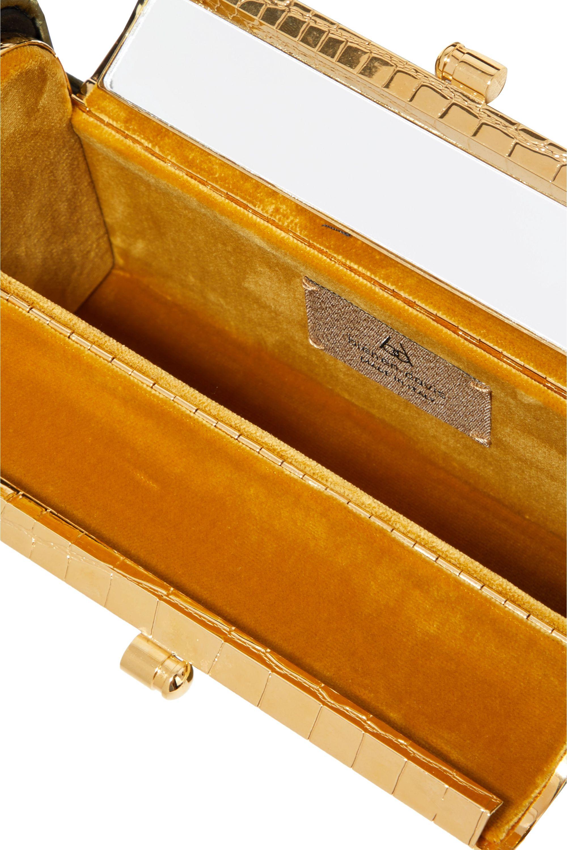 Bienen-Davis Régine croc-effect satin and gold-dipped tote