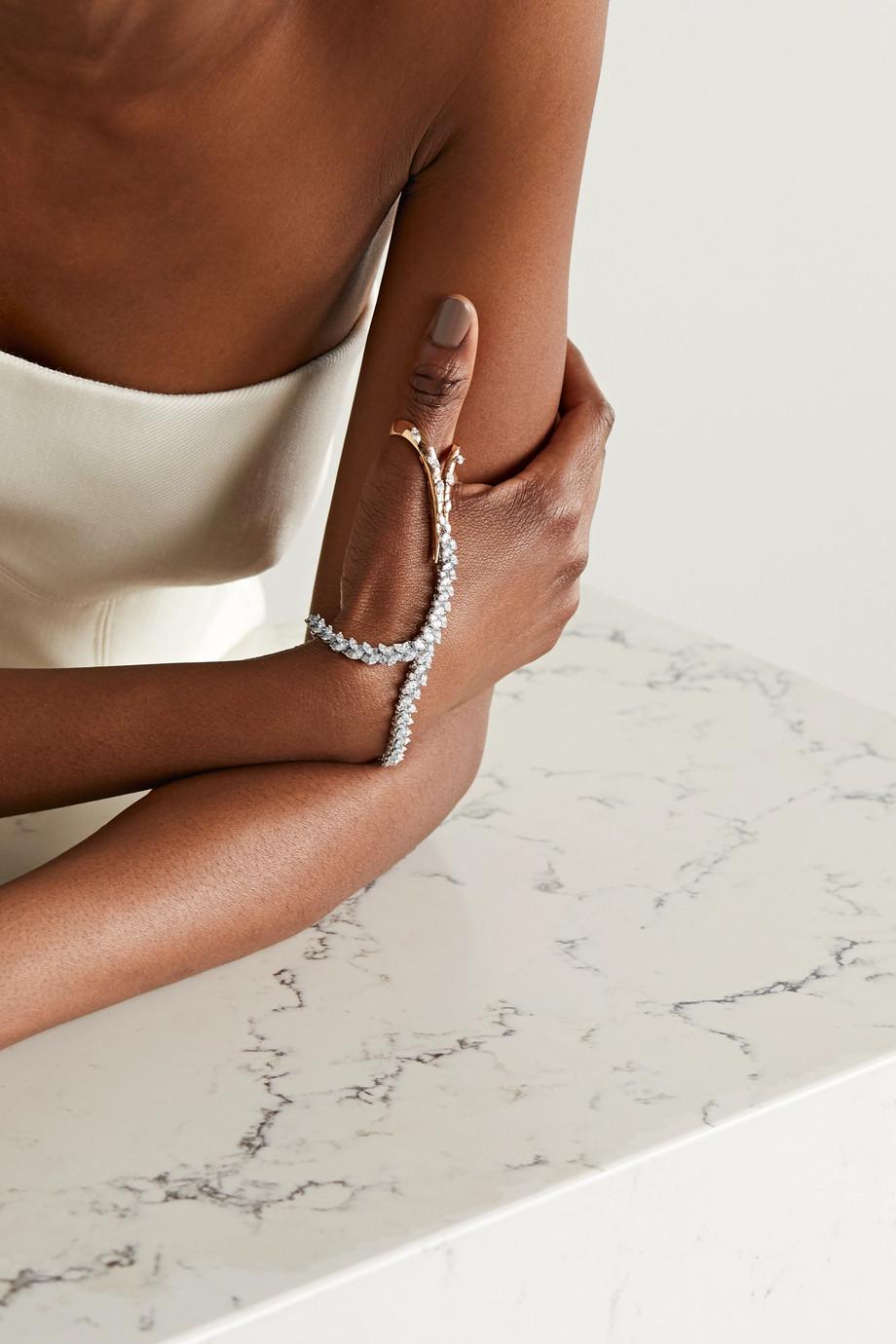 YEPREM 18-karat white and yellow gold diamond bracelet