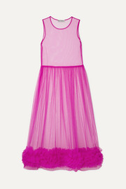 Alison ruffled tulle midi dress