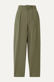 Pfeiffer belted wool tapered pants