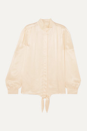 Falcon tie-detailed pleated satin blouse