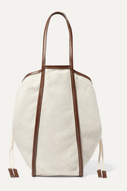 LE 17 SEPTEMBRE Small leather-trimmed linen and cotton-blend canvas tote