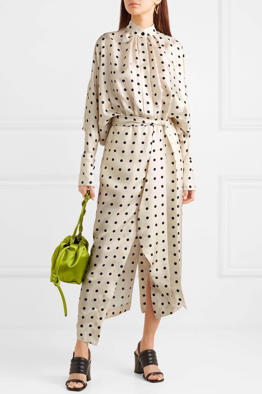 Petar Petrov Dublin 配腰带不对称波点真丝斜纹布连衣裙