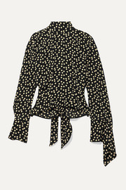 Petar Petrov Open-back polka-dot silk-crepe blouse