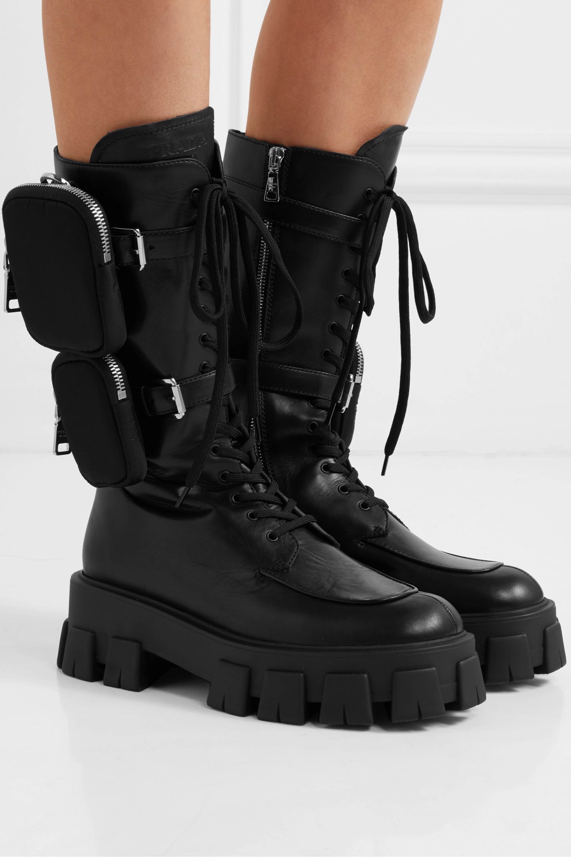 Black Buckled Leather And Shell Platform Boots | Prada