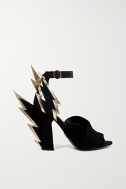 Prada Metallic textured leather-trimmed suede sandals