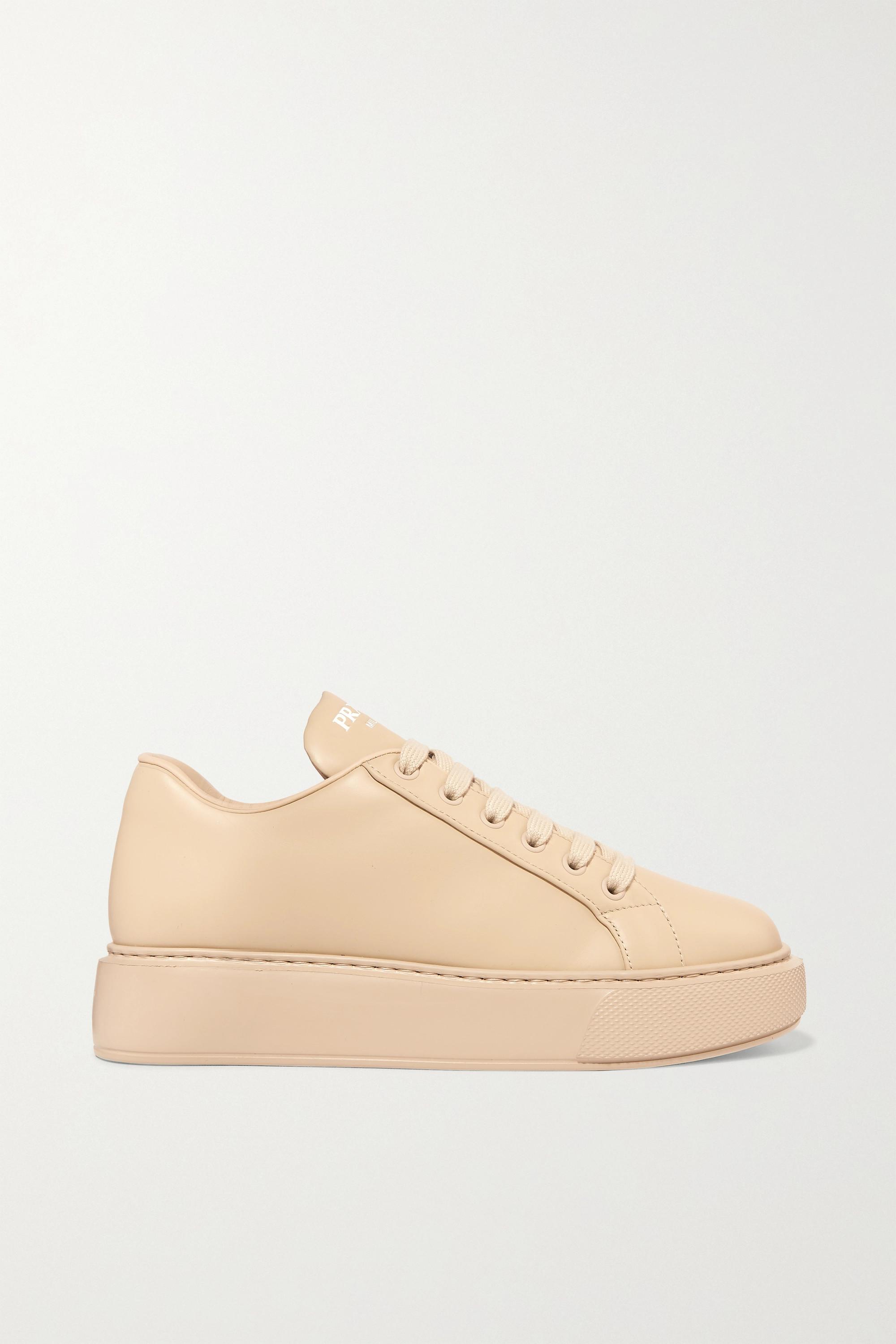Beige Leather sneakers   Prada   NET-A