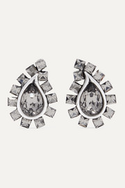 Etro Silver-tone crystal clip earrings