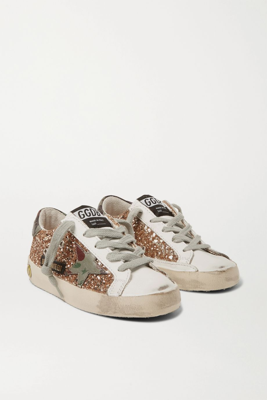 Golden Goose Kids Sizes 28 - 35 Superstar glittered distressed leather sneakers
