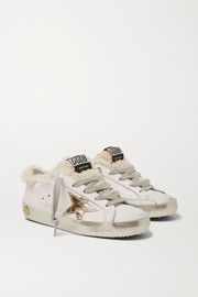 Golden Goose Kids Sizes 28 - 35 Superstar shearling-lined distressed leather sneakers