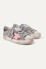 Golden Goose Kids Size 28 - 35 Superstar distressed glittered leather and suede sneakers
