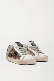 Golden Goose Kids Sizes 19 - 27 Superstar glittered distressed leather sneakers