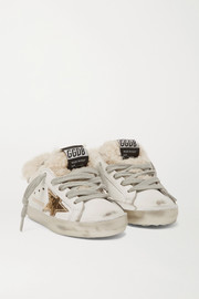 Golden Goose Kids Sizes 19 - 27 Superstar shearling-lined distressed leather sneakers